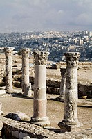 Ruins of a bizantine church. The citadel. Amman .Kingdom of Jordan