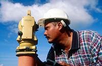 Surveyor taking measurement. Panama Canal