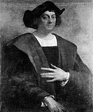 Painting of Christopher Columbus (1446-1506), explorer famous for his crossing of the Atlantic Ocean to the Americas in 1492, by Sebastiano del Piombo...