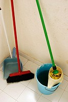 Broom, dustpan, mop and bucket