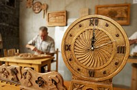 Carved wooden clock.