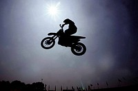 Silhouet of a Motorcrosser in the air