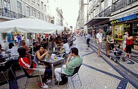 Portugal, Lisbon. Rua Augusta, the main shopping street in the centre of Lisbon