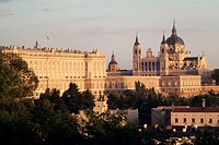 Royal Palace and Almudena cathedral. Madrid. Spain