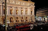 Night time view of Paris, France, Opera House, aglow in lights, and the sourrounding area