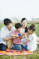 Asian family having a picnic