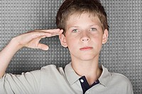 Boy saluting (thumbnail)