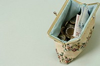 Purse filled with Euro-bills- and coins, high angle view