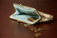 Euro coins in front of a purse, selective focus