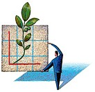 Man holding graph with plant growing from axes
