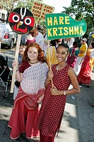 Hare Krishna, woman, girl, Asian, religion, Hindu. Coconut Grove. Florida. USA