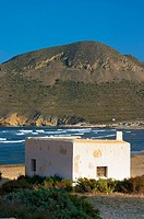 Small building located at 'El Playazo de Rodalquilar'. Cabo de Gata - Nijar Natural Park. Almeria Province. Andalucia. Spain