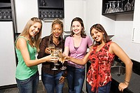 Women toasting wine
