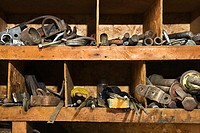 Tools on shelves