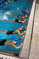 Swimming Team Practicing