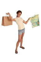 Girl with shopping bag and shirt, portrait.