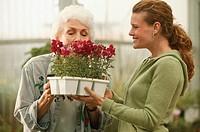 Women in a garden center