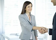 Businesswoman shaking hands (thumbnail)