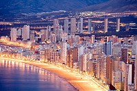 Night panoramic view of Benidorm, Alicante, Comunidad Valenciana, Spain