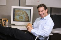 Businessman laughing.