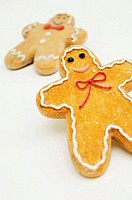 Close-up of two gingerbread men