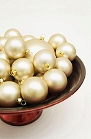 Close-up of Christmas ornaments in a bowl