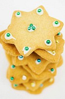 Close-up of a stack of Christmas cookies