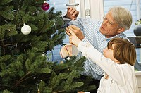 Close-up of a grandfather and his grandson looking at Christmas tree
