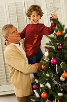 Side profile of a senior man with his grandson decorating a Christmas tree