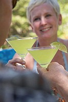 Close-up of a mature couple toasting with martini glasses