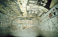 Mural paintings in the Tomb of Rameses IX. Valley of the Kings, Luxor West Bank. Egypt