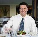 Man at restaurant table, Perth, Australia