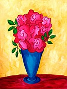 'Roses in Blue Vase' 16x20' Acrylic on canvas. 2002