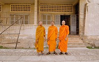 Buddhist monks at Tuol Sleng (Security Prison 21, or S-21). Phnom Penh, Cambodia. Formerly known as Tuol Svay Prey High School, it became in 1975 the ...
