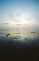 France, Charente-Maritime, sunset at low tide