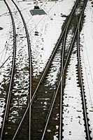 Railway line and junction leading from the Hamburg main railway station or Hauptbahnhof in Hamburg, Germany