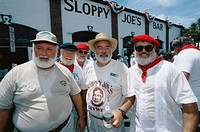 Yearly contest of Hemingway look-alikes, hold in the Sloppy Joe´s café in Duval Street. Key West, Florida. USA.