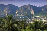Ko Nok and Ton Sai Village from Ko Nai viewpoint, Ko Phi Phi, Thailand