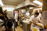 Trattoria, Dispensa, Locanda (restaurant, hotel, food shop) ´Da Amerigo´. The kitchen. Savigno, Bologna province, Italy.
