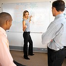 side profile of a businesswoman doing a presentation standing by a whiteboard