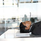 side profile of a woman lying on a laptop at work with a party favor in her mouth