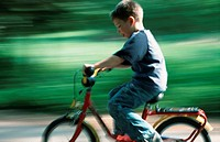 A little boy riding a bicycle, driving a cycle