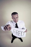 businessman with fired note