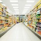 shelves in a supermarket