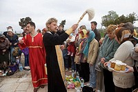 Easter holiday celebration at St. Vladimir´s cathedral, Chersonesos. Crimea, Ukraine
