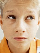 close-up of a boy glancing