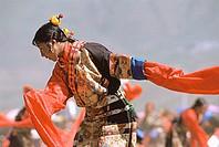 China, Szechuan (Sichuan), Kham region, Tibetan dancer performing at festival.