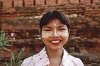 Myanmar (Burma), Bagan, Souvenir seller - Shwesandaw Paya, portrait