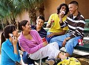 Five teenagers having fun