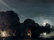 fine arts, Elsheimer, Adam, 1578 - 1610, painting, ´flight to Egypt´, 1609, oil on copper, 31 cm x 41 cm, Old Pinakothek, Munich, historic, historical...